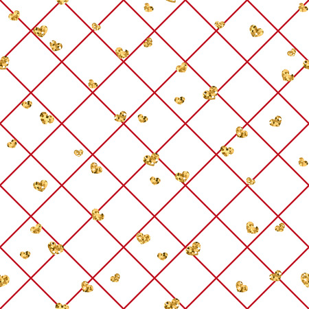 Gold heart seamless pattern. Red-white geometric decoration, golden confetti-hearts. Symbol of love, Valentine day holiday. Design wallpaper, background, fabric texture Vector illustration