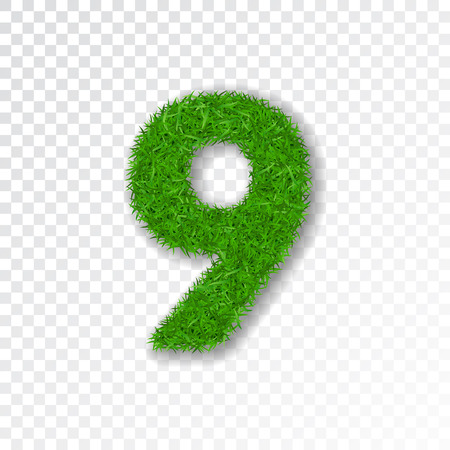 Grass number nine. Green number 9, isolated on white transparent background. Green grass nine, symbol of nature, plant, summer. Grass texture spring font. Beautiful eco design Vector illustration Ilustração