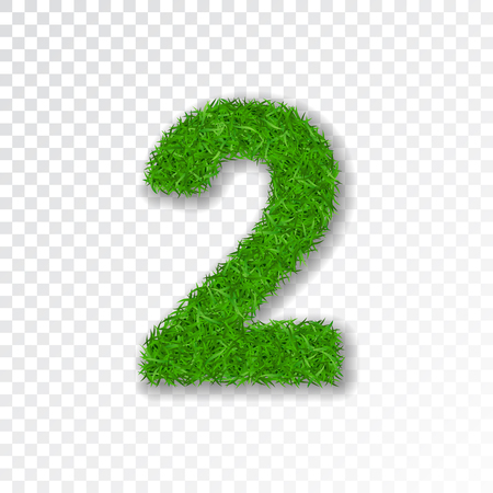 Grass number 2. Green number two, isolated on white transparent background. Green grass 2, fresh symbol of nature, plant lawn, summer. Grass spring font. Beautiful eco design Vector illustration Illustration