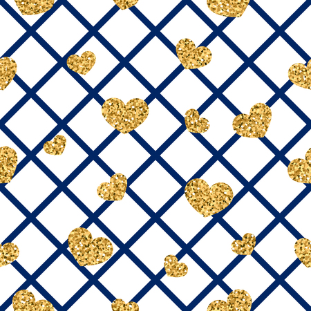 Gold heart seamless pattern. Blue-white geometric decoration, golden confetti-hearts. Symbol of love, Valentine day holiday. Design wallpaper, background, fabric texture Vector illustration