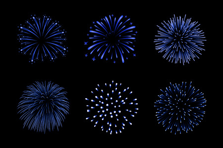 Beautiful blue fireworks set. Bright fireworks isolated black background. Light blue decoration fireworks for Christmas, New Year celebration, holiday festival, birthday card Vector illustration