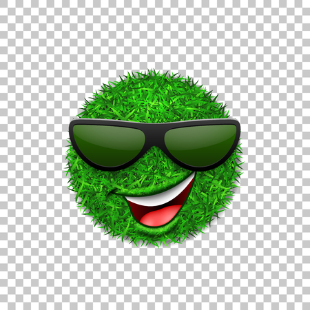 Green grass field 3D. Face wink smile with sunglasses. Smiley grassy emoticon icon isolated white transparent background. Happy smiling sign. Symbol ecology, nature, spring Vector illustration