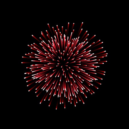 Beautiful red firework. Couple romantic salute isolated on black background. Light decoration firework for Christmas, New Year, Valentine Day celebration. Symbol of holiday Vector illustration