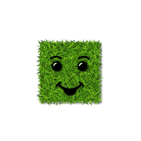 Green grass square field 3D. Face smile. Smiley grassy icon, isolated white background. Ecology concept. Smiling sign. Symbol eco, nature, safe environment, spring Vector illustration Illustration