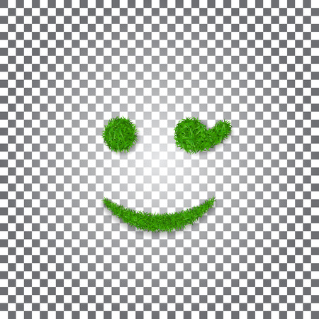 Green grass wink smile 3D. Smiley grassy emoticon icon Isolated white transparent background. Happy smiling sign. Symbol ecology, eco lawn, safe nature, happy emotion, fresh Vector illustration