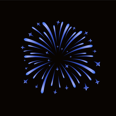 Beautiful blue firework. Bright firework isolated on black background. Light blue decoration firework for Christmas, New Year celebration, holiday, festival, birthday card Vector illustration