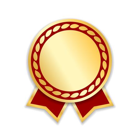 Cinta de premio aislada. Medalla de diseño de oro rojo, etiqueta, insignia, certificado. Símbolo de mejor venta, precio, calidad, garantía o éxito, logro. Ilustración de vector de decoración de premio de cinta dorada