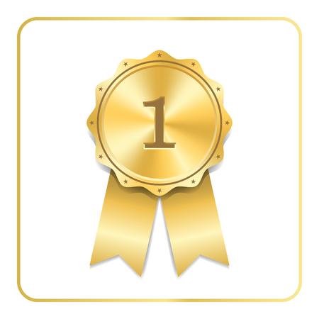 Award ribbon gold icon. Blank medal isolated on white background. Stamp rosette design trophy. Golden emblem. Symbol of winner, celebration, sport achievement, champion Vector illustration Illustration