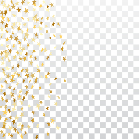 Gold stars falling confetti frame isolated on transparent background. Golden abstract pattern Christmas, New Year holiday celebration, festive, party. Glitter explosion Vector illustration