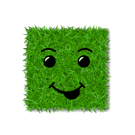 Green grass square field 3D. Face smile. Smiley grassy icon, isolated white transparent background. Ecology concept. Smiling sign. Symbol eco, nature, safe environment, spring Vector illustration Illustration
