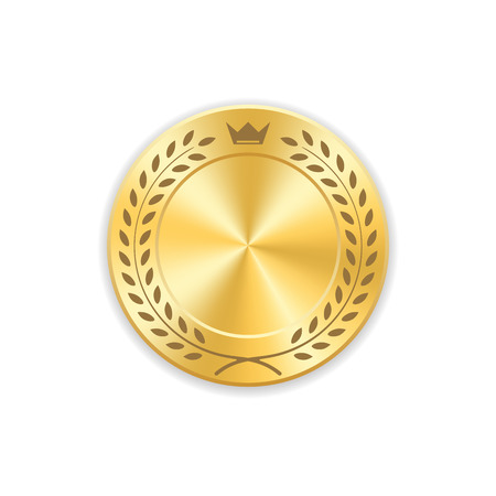 Seal award gold icon. Blank medal with laurel wreath, isolated on white background. Golden design emblem. Symbol of assurance, winner, guarantee and best label, premium, quality Vector illustration