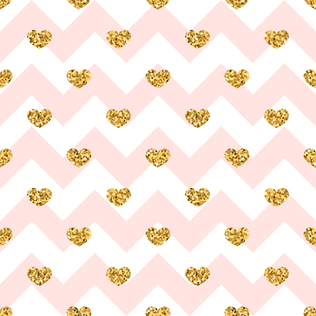 Gold heart seamless pattern. Pink-white geometric zig zag, golden confetti-hearts. Symbol of love, Valentine day holiday. Design wallpaper, background, fabric texture Vector illustration