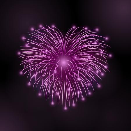 Beautiful heart-firework. Bright romantic firework, isolated on black background. Light love decoration salute for Valentine Day celebration. Symbol of holiday, wedding. Vector illustration