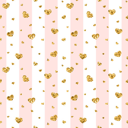 Gold heart seamless pattern. Pink-white geometric stripes, golden confetti-hearts. Symbol of love, Valentine day holiday. Design wallpaper, background, fabric texture Vector illustration Illustration