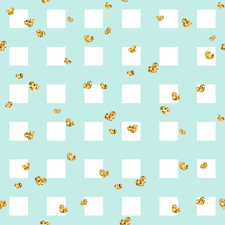Gold heart seamless pattern. Blue-white geometric square, golden confetti-hearts. Symbol of love, Valentine day holiday. Design wallpaper, background, fabric texture Vector illustration