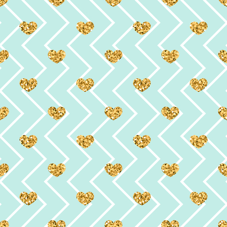 Gold heart seamless pattern. Blue-white geometric zig zag, golden confetti-hearts. Symbol of love, Valentine day holiday. Design wallpaper, background, fabric texture Vector illustration