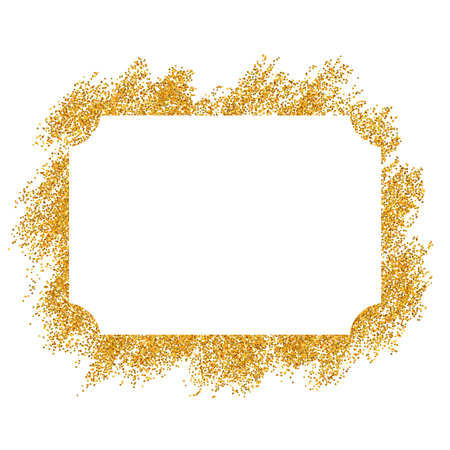 Marco dorado. Hermoso diseño de brillo dorado. Cenefa decorativa de estilo vintage, fondo blanco aislado. Deco marco de lujo elegante para decoración, foto, banner de Navidad ilustración vectorial