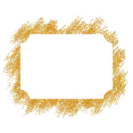 Montatura in oro. Bellissimo design glitter dorato. Bordo decorativo in stile vintage, sfondo bianco isolato. Quadro di lusso elegante Deco per la decorazione, foto, banner di Natale Illustrazione vettoriale