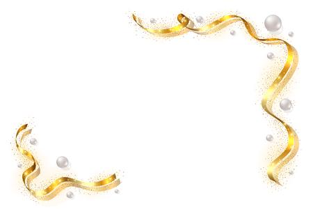 Gold ribbon frame. Golden serpentine design. Decorative streamer border, isolated white background. Decoration framework for Christmas, carnival, holiday celebration, birthday Vector illustration