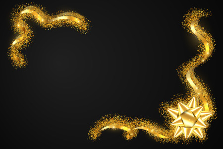 Gold ribbon frame. Golden serpentine design. Decorative streamer border, isolated black background. Decoration framework for Christmas, carnival, holiday celebration, birthday Vector illustration Illustration