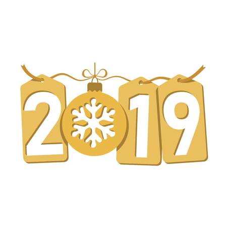 Happe New Year gold background. Isolated 2019 golden numbers, tags, bauble, snowflake. Flat Christmas ball. Design celebration card, promotion discount, calendar, sale banner Vector illustration