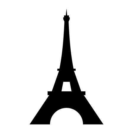 Eiffel Tower logo icon. Old style. Symbol french, Paris, holiday, travel tour. Black silhouette tall building Eifel Tower isolated white background. Modern architecture design Vector illustration  イラスト・ベクター素材
