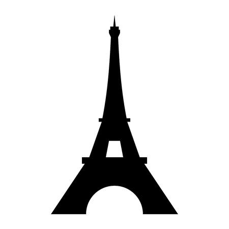 Icono del logo de la Torre Eiffel. Viejo estilo. Símbolo francés, París, vacaciones, recorrido turístico. Fondo blanco aislado de la torre Eifel del edificio alto de la silueta negra. Diseño de arquitectura moderna ilustración vectorial