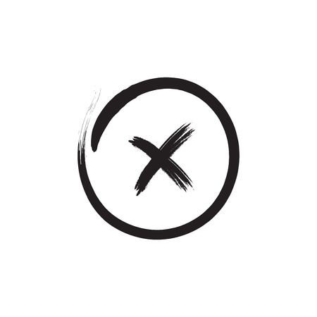 Cross sign black element. Gray brush X icon isolated on white background. Simple mark design. Round shape button for vote, decision, web Symbol of error, wrong and stop, failed Vector illustration