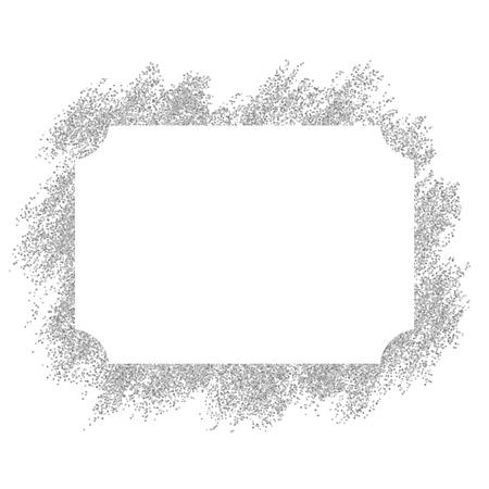 Silver frame. Beautiful glitter design. Vintage style decorative border, isolated white background. Deco elegant luxury framework for decoration, photo, Christmas banner Vector illustration