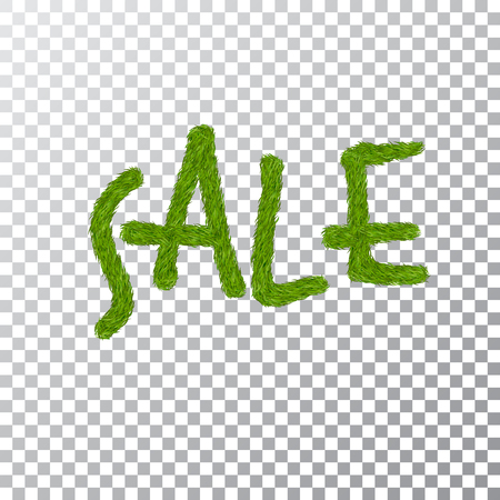 Green grass sale text, isolated white transparent background