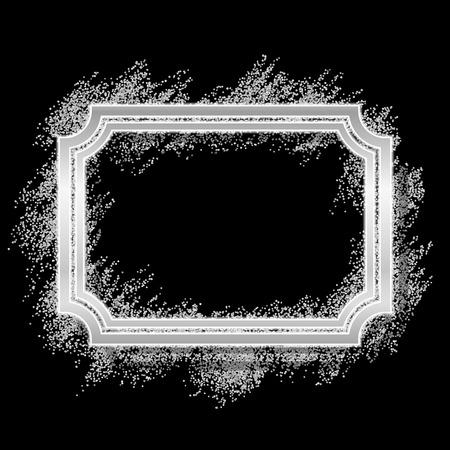 Silver frame. Beautiful glitter design. Vintage style decorative border, isolated black background. Deco elegant luxury framework for decoration, photo, Christmas banner Vector illustration Illustration