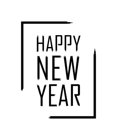 happy new year text in focus frame black border and font happy new year isolated