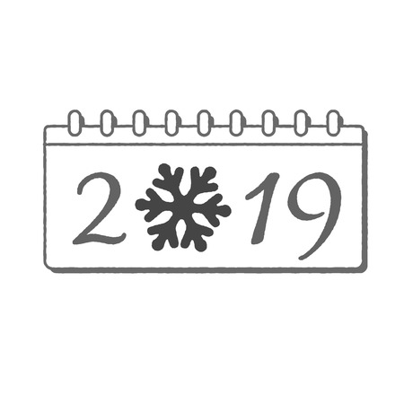 Calendar Happy New Year 2019. Number isolated on white background. Gray template cover. Christmas snowflake. Silver flat design for banner, decoration, holiday celebration Vector illustration Illustration