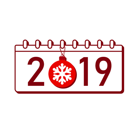 Calendar Happy New Year 2019. Number isolated on white background. Red template cover. Christmas ball, snowflake. Flat design for banner, decoration, holiday celebration Vector illustration