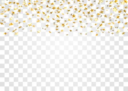 Gold stars falling confetti isolated on white transparent background. Golden abstract pattern Christmas card, New Year holiday. Confetti paper stars. Glitter explosion Vector illustration
