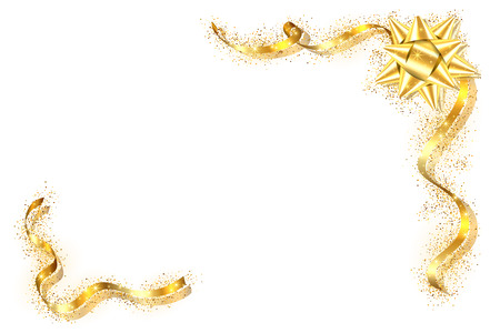 Gold ribbon frame. Golden serpentine design. Decorative streamer border, isolated white background. Decoration framework for Christmas, carnival, holiday celebration, birthday Vector illustration