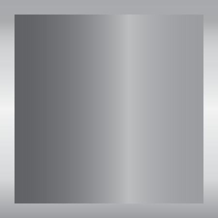 Silver gradient background. Silver design texture for ribbon, frame, banner. Abstract silver gradient template. Metal shine steel plate. Metallic light chrome pattern Vector illustration Vectores