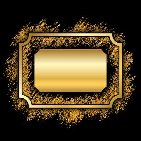 Gold frame. Beautiful golden glitter design. Vintage style decorative border, isolated black background. Deco elegant luxury framework for decoration, photo, Christmas banner Vector illustration