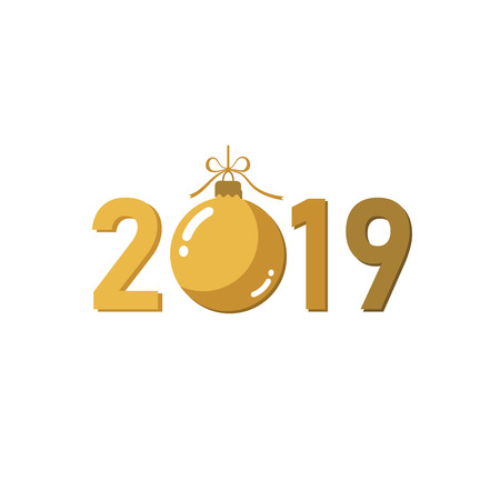 Happe New Year gold background. Isolated 2019 golden numbers, bauble. Flat Christmas ball. Design for celebration card, holiday greeting, calendar, banner. Typography graphic Vector illustration Stock Illustratie