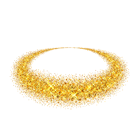 Gold circle. Light glitter effect. Golden ring, isolated white background. Ellipse magic element. Foil texture. Christmas shine decoration, round frame, New Year greeting design Vector illustration Ilustrace
