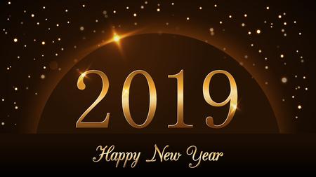 Happy New Year background. Magic gold rain and globe. Golden numbers 2019 on horizon. Christmas planet design. Light, glow and sparkle, glitter. Symbol of wish, celebration Vector illustration Illustration