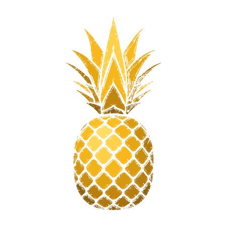 Ananas-Grunge mit Blatt. Tropischer Gold exotischer Obst lokalisierter weißer Hintergrund. Symbol für Bio-Lebensmittel, Sommer, Vitamin, gesund. Naturlogo. Designelementschattenbildikone Vektorillustration