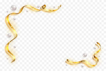 Gold ribbon frame. Golden serpentine design. Decorative streamer border, isolated transparent white background. Decoration Christmas, carnival, holiday celebration, birthday Vector illustration