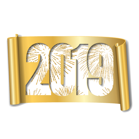 Happy new year card. White number 2019, gold firework. Scroll isolated white background. Golden ribbon handscroll. Curved frame ribbon border. Design decoration. Christmas banner Vector illustration