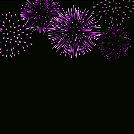 Firework sparkle background card. Beautiful bright fireworks isolated on black background. Light pink decoration fireworks for Christmas card, New Year celebration Vector illustration
