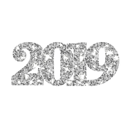 Happy New Year silver number 2019. Silvery glitter digits isolated on white background. Shiny glowing design. Light sparkle Christmas celebration, greeting card, holiday poster Vector illustration