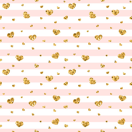 Gold heart seamless pattern. Pink-white geometric stripes, golden confetti-hearts. Symbol of love, Valentine day holiday. Design wallpaper, background, fabric texture Vector illustration Stock Illustratie