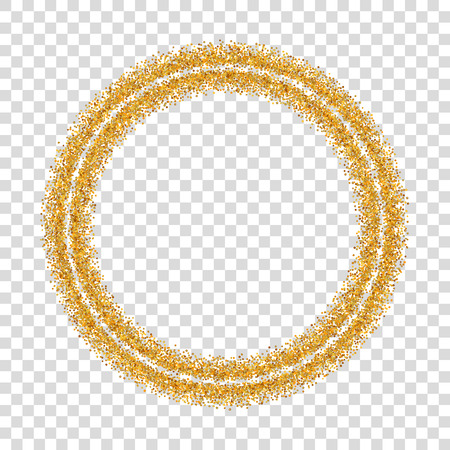Gold circle glitter frame. Golden confetti dots round, white transparent background. Bright texture pattern Christmas celebration party, New Year card border. Abstract design Vector illustration Ilustração