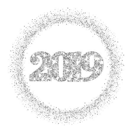 Happy New Year silver number 2019, circle frame. Silvery glitter border isolated on white background. Shiny pattern. Light sparkle design Christmas celebration, greeting card Vector illustration Illusztráció