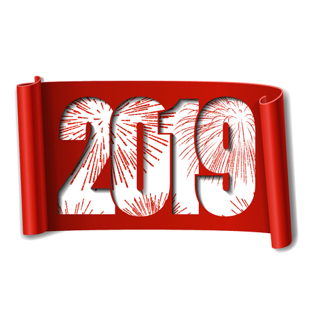 Happy new year card. White number 2019, red firework. Scroll 3D isolated white background. Ribbon handscroll. Curved frame ribbon. Design decoration. Christmas banner Vector illustration Illustration